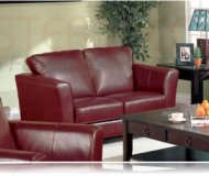 Brady Red Leather Love Seat