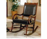 Brown Wood Leather Seat Back Rocker Recliner Chair W/Arm