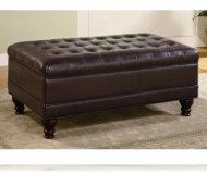 Dark Brown Storage Bench Ottoman