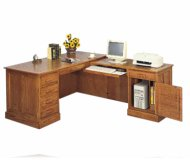 Executive L-Shape Oak Desk