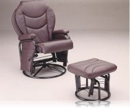 Glider Rocker with Round Base Ottoman in Plum Leatherette