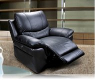 Lucerne Motorized Recliner in Black Leather