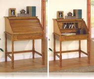 Oak Finish Roll Top Bedroom Home Office Secretary Desk