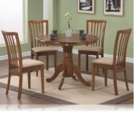 Oak Finish Round Table 5 Pc Set