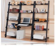 Open Style Home Bookcase & Desk in Black