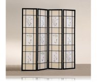 Oriental Floral Accented 4 Panel Black Wood Framed Room Screen Divider