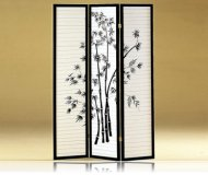 Oriental Style 3 Panel Black Room Dividers