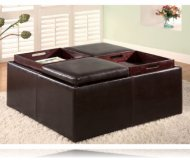 Ottoman With 4 Wood Trays