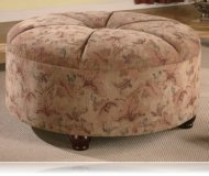 Ottoman in Floral Fabric
