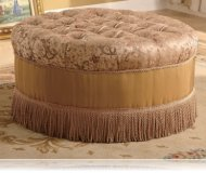Round Ottoman in Floral Fabric