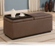 Brown Vinyl Storage Ottoman Coffee Table with Trays Ottomans