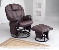 Swivel Glider with Ottoman in Plum Leatherette
