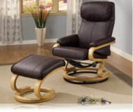 Wildon Leisure Chair and Ottoman in Brown Leather