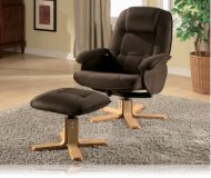 Wildon Leisure Chair and Ottoman in Brown Microfiber