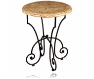 Opulence Round Accent Table Woodstone Scroll Base