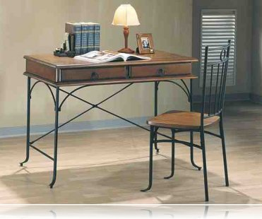 2 pc Wood and Metal Desk Set