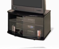 Black T.V. stand with glass and casters