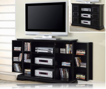 Black media storage tv stand plasma tv stands coaster 700637 for Media and tv storage furniture