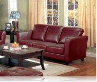 Brady Red Leather Sofa