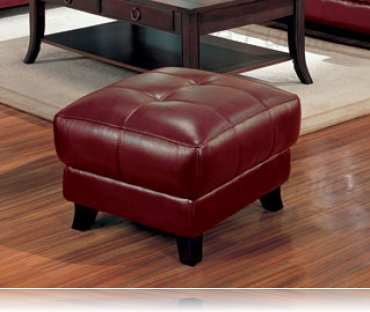 Brady Red Leather ottoman