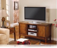 Brown  tv stand shelves