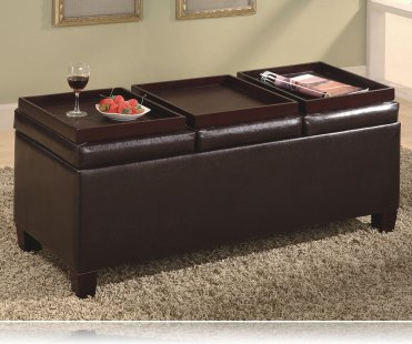 Brown Vinyl Storage Ottoman Coffee Table with Trays