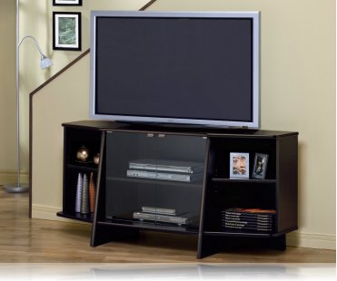 Cappuccino Glass Doors TV Stand