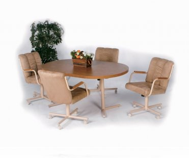 Casual Natural Oak Oval 5 Pc Home Office Set