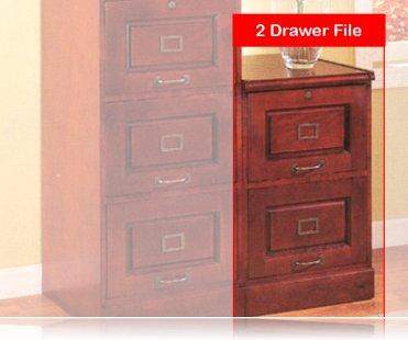 Cherry Finish File Cabinet W/ 2 Locking Drawers