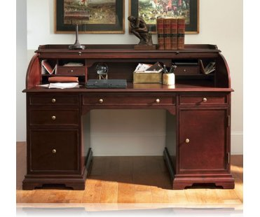 Cherry finish wood modern contemporary styling roll top desk with short top
