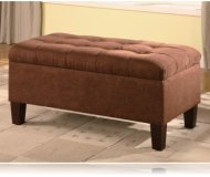 Chocolate Color Microfiber Storage Ottoman / Bench