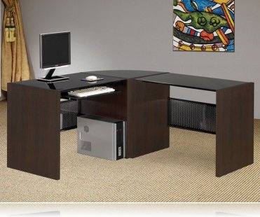 Computer Desk Contemporary Black Glass Top