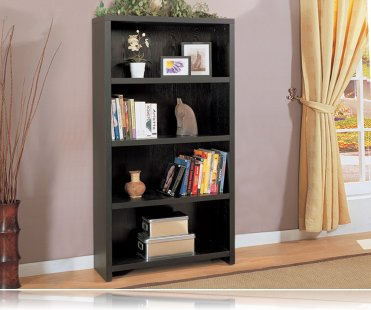 Contemporary Black Finish Bookcase
