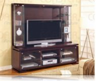Contemporary Cappuccino TV Console + Hutch