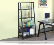 Contemporary Dark Color Glass & Metal 4-Tier Book Shelf / Bookcase