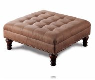 Contemporary Nail Head Trim Brown Micro Fiber Coffee Table Ottoman