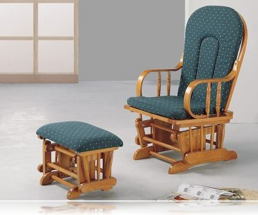 Country Oak Glider Rocker / Ottoman