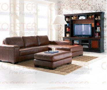 Easton Leather Sectional + Wall Unit