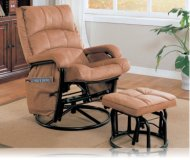 Glider Rocker with Ottoman in Tan Microfiber / Black Frame