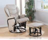 Glider Rocker with Round Base Ottoman in Beige Leatherette