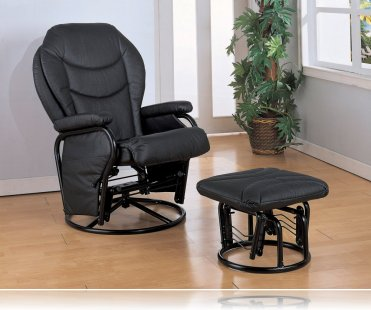 Glider Rocker with Round Base Ottoman in Black Leatherette