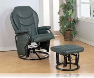 Glider Rocker with Round Base Ottoman in Hunter Green Leatherette