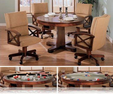 Grand Contemporary 5 Pc Dining Set, Bumper and Poker
