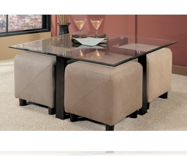 Hines Cocktail Table and 4 Ottomans