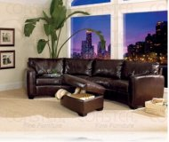 Jade Leather Media Sectional