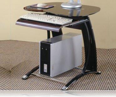 Mini computer desk in black and chrome