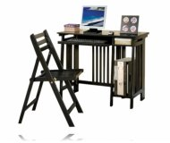 New Black Finish Wood Computer Desk and Chair Set