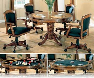 Oak 5 Pc Dining Set, Bumper and Poker