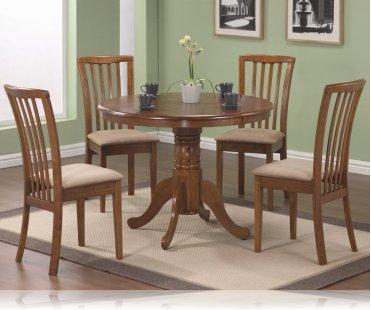 Oak Finish Round Table 5 Pc Set