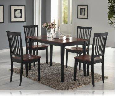 Oak/Black 5 Pc Dining Set